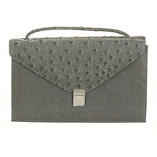 fc1a81493c8c Aryana Chic Gray Ostrich Texture Structured Single Strap Womens Purse - One  Size