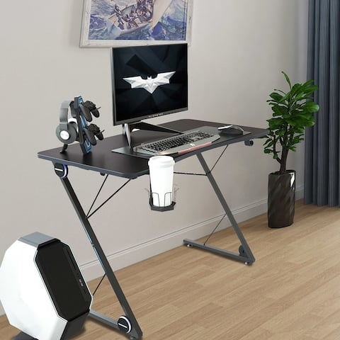 TiramisuBest Ergonomic PC Gaming Table in Z-Shaped with LED Lights