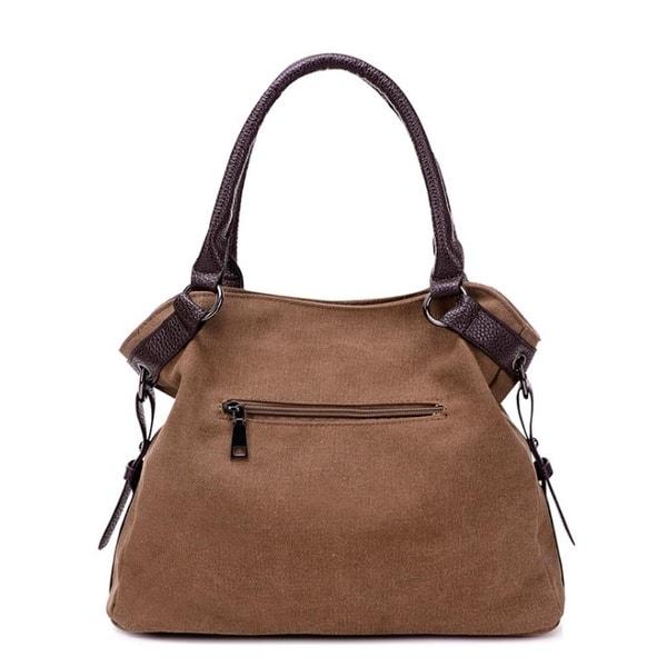 d1ccdcf2c2e4 Shop Fashion Simple Solid Color Casual Canvas Handbags Shoulder Bag ...