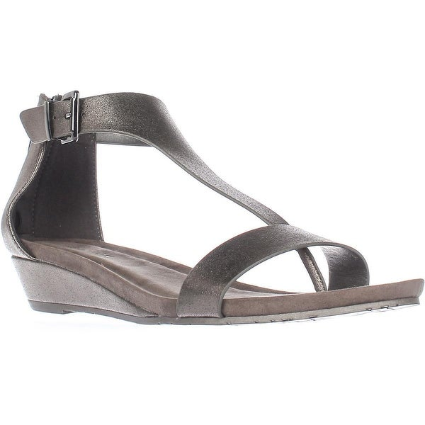 Kenneth Cole REACTION Great Gal T-Strap Wedge Sandals, Gunmetal