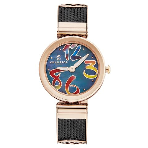 Charriol Women's FE32.302.010 'Forever' Black Mother of Pearl Dial Two Tone Stainless Steel Colorful Quartz Watch