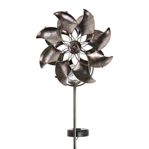 """Bronze Double Windmill Solar Spinner Stake - 9.0"""" x 6.0"""" x 47.0"""""""
