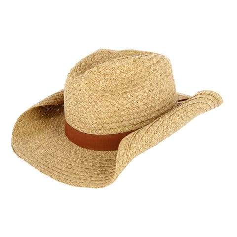 CTM® Women's Straw Western Hat with Vegan Leather Band - Natural