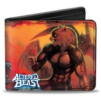 Sega Genesis Altered Beast Box Cover Art Wolf Pose Red Orange + Athena Pose Bi-Fold Wallet - One Size Fits most