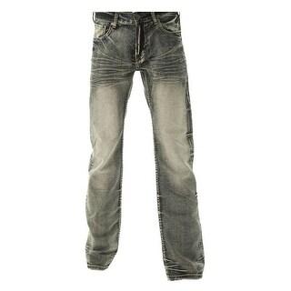 B. Tuff Western Denim Jeans Mens Throttle Bleach Wash MTHROT