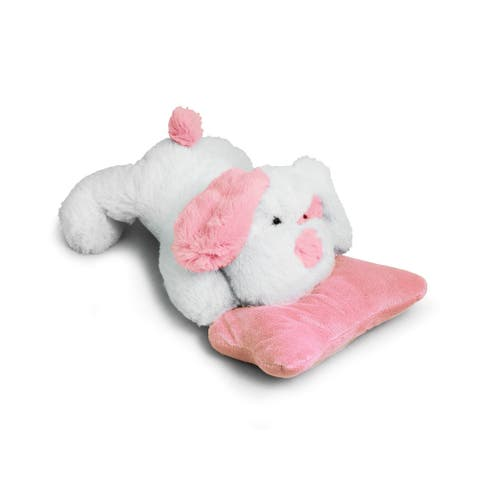 Beverly Hills Teddy Bear Company Puppy with Rattle, Pink - 12.0 in. x 7.0 in. x 5.0 in.
