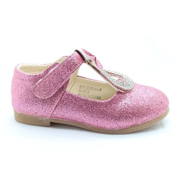 1c14a908d1 Little Girls Pink Glitter Rhinestone Bow Adorned Dress Shoes