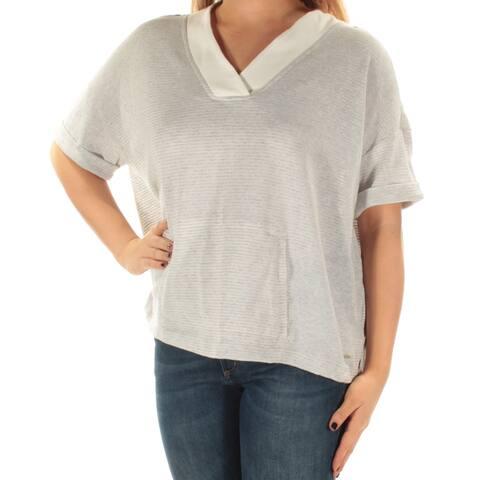 TOMMY HILFIGER Womens Gray Short Sleeve V Neck Sweater Size: XL