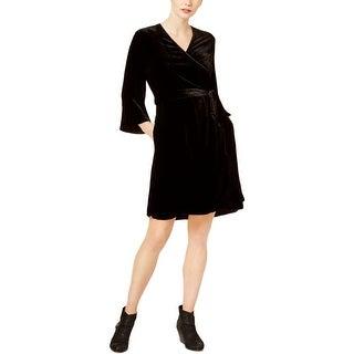 Eileen Fisher Womens Wrap Dress Velvet Bell Sleeve