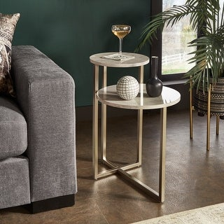 Link to Ervine Champagne Silver Finish Nesting Side Table with Faux Marble Top by iNSPIRE Q Modern - Side Table Similar Items in Living Room Furniture