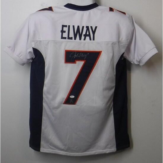 John Elway Autographed Denver Broncos White Size XL Jersey JSA