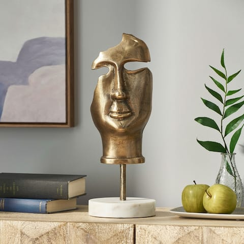 Montville Indoor Aluminum and Marble Handcrafted Abstract Face Decor with Stand by Christopher Knight Home