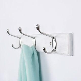 Dual Wall Hook Rack Bamboo Base 14 Inch 3 Hooks Coat Towel Holder Hanger White