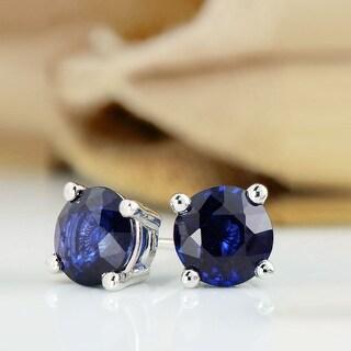 Link to Auriya 14k Gold Round Sapphire Stud Earrings 1ctw Similar Items in Earrings