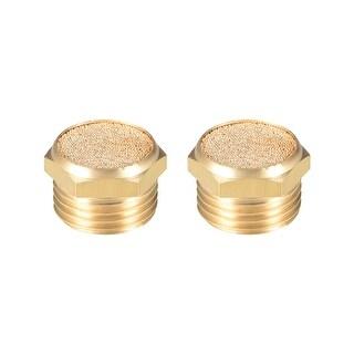 """Brass Exhaust Muffler, 1/2"""" G Male Thread Bronze Muffler w Brass Body Flat 2pcs - 1/2"""" G 2pcs"""