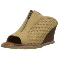 Bearpaw Womens Nina Fabric Open Toe Wedge Pumps