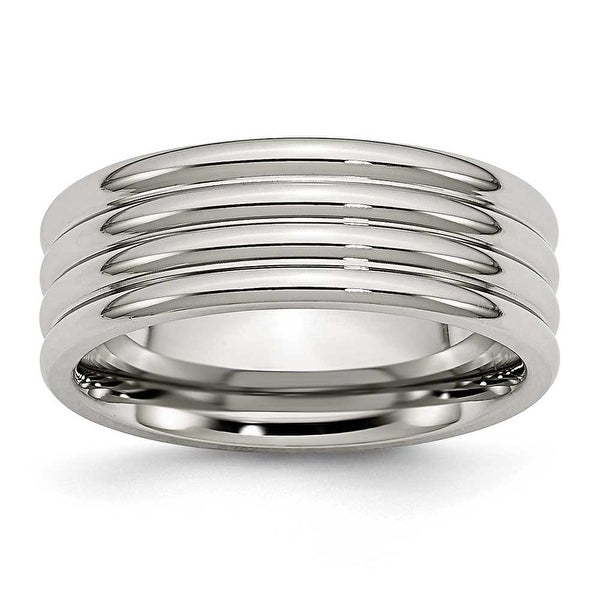 Chisel Grooved Polished Stainless Steel Ring (8.0 mm) - Sizes 6-13