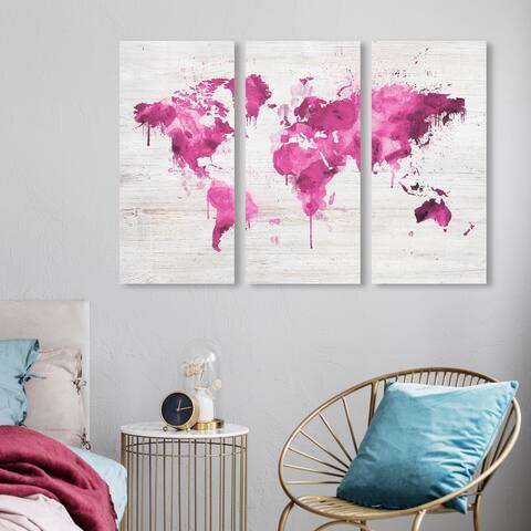 Oliver Gal 'Mapamundi Pink Triptych' Maps and Flags Wall Art Canvas Print Set - Pink, White