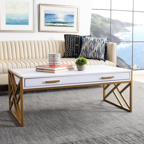 "Safavieh Elaine 2-drawer Modern Glam Coffee Table - 43.3"" x 21.7"" x 16.5"" - 43.3"" x 21.7"" x 16.5"". Opens flyout."