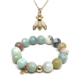 "Green Amazonite 7"" Bracelet & CZ Bee Gold Charm Necklace Set"