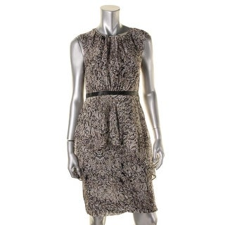 Magaschoni Womens Silk Layered Wear to Work Dress - 4