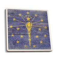 Rustic Indiana State Flag - LP Artwork (Set of 4 Ceramic Coasters)