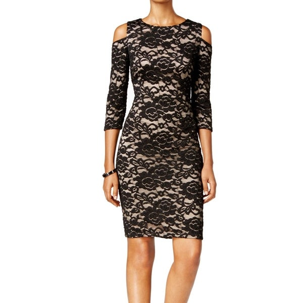 6403f560c5e1 Shop Jessica Howard NEW Black Nude Womens 14 Lace Cold Shoulder Sheath Dress  - Free Shipping On Orders Over $45 - Overstock - 19403689