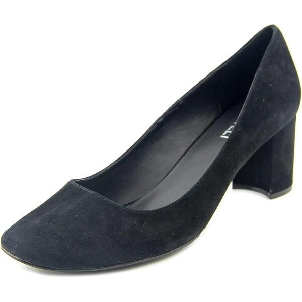 Vaneli Deon Women Round Toe Suede Black Heels