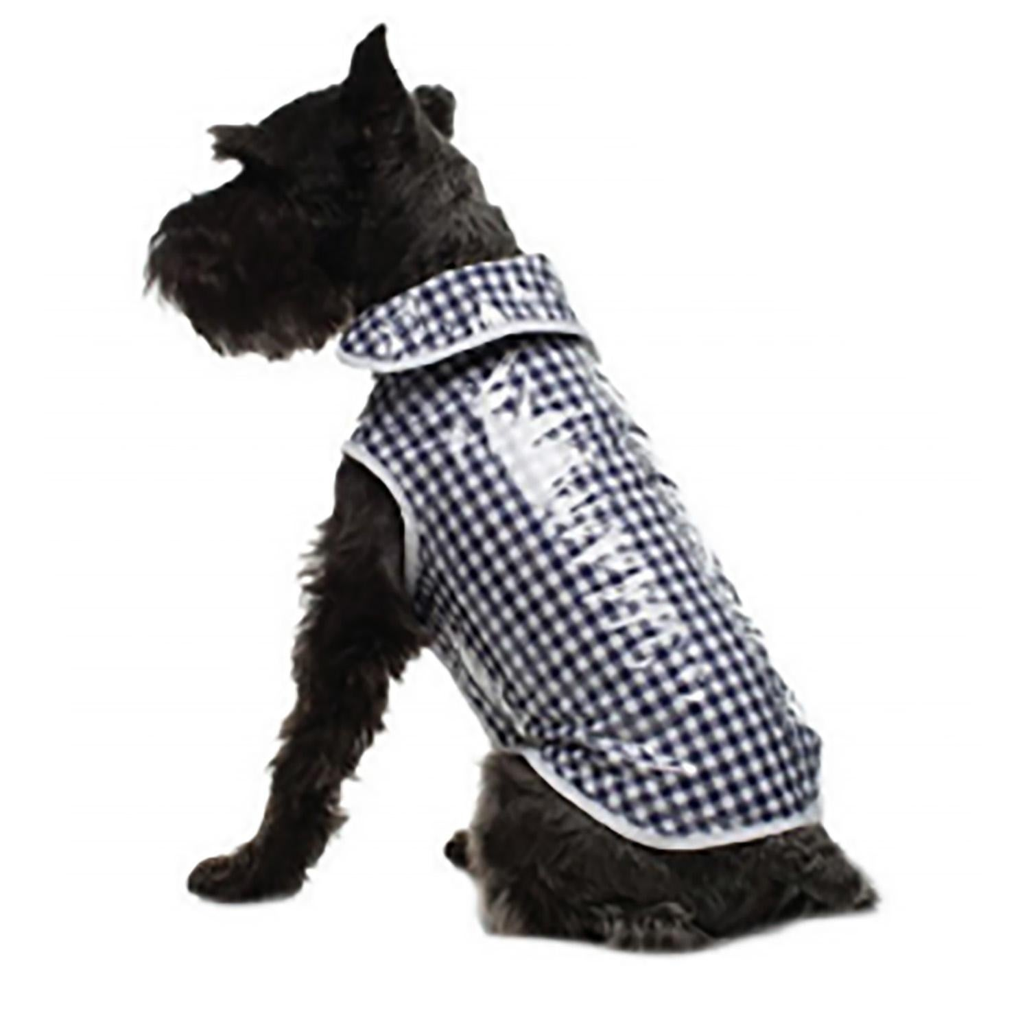Daisy and Lucy Navy Gingham Dog Coat (Size 12)
