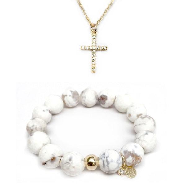 White Agate Bracelet & CZ Cross Gold Charm Necklace Set