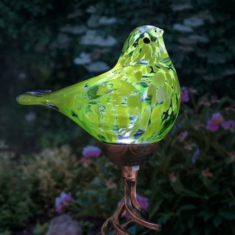 Exhart Solar Pearlized Hand Blown Glass Bird Garden Stake, 6 by 31 Inches