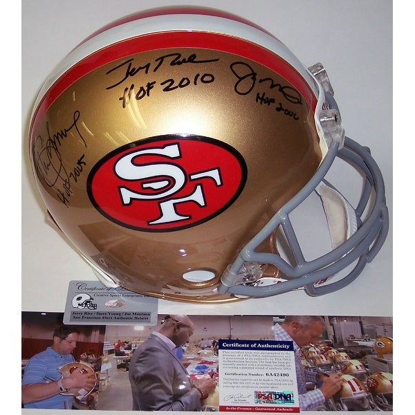 ecce317d5 Shop Joe Montana, Jerry Rice & Steve Young Autographed Hand Signed San  Francisco 49ers Throwback Authentic Helmet - PSA/DNA - Free Shipping Today  ...