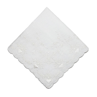 CTM® Women's Soft Cotton Bridal Heart Embroidered Handkerchief - White - One Size