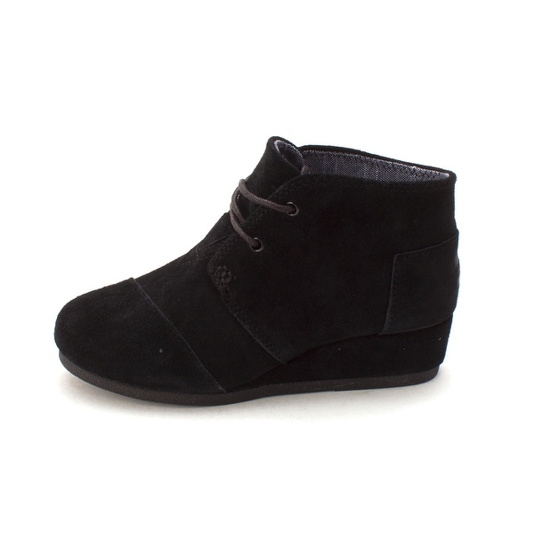 TOMS Girls Desert Wedge Suede Ankle Pull On Wedge Boots