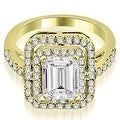 1.42 cttw. 14K Yellow Gold Double Halo Emerald Cut Diamond Engagement Ring - Thumbnail 0