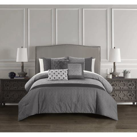 Chic Home Ima 6 Piece Jacquard Pattern with Quilted Details Comforter, Grey
