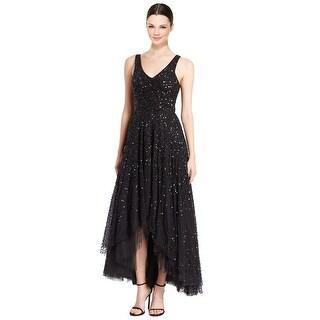 Parker Black Opal Embellished V-Neck Sleeveless Hi-Lo Evening Gown Dress Black - 0