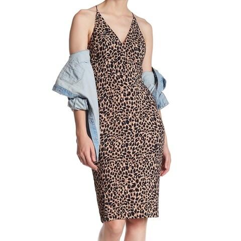 TopShop Womens Leopard Print Woven Sheath Dress