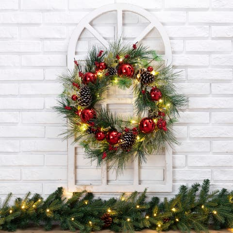 """24""""D Pre-Lit Ball Berry Holly Pinecone & Ornament Wreath with White Window Frame Set"""