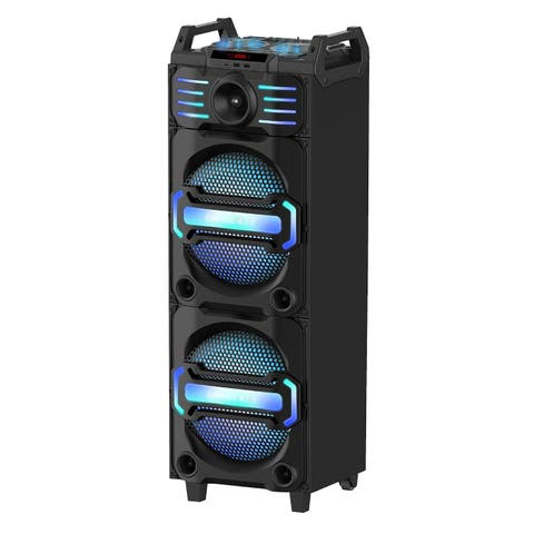 """Portable Powered 3-way Audio Entertainment System with Dual 10"""" Woofers and Dual Audio Systems for Track Mixing"""