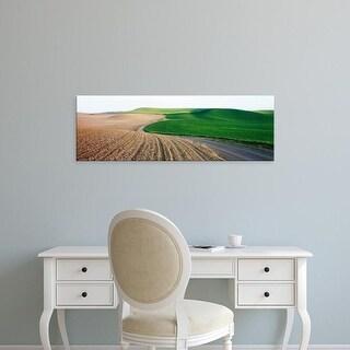 Easy Art Prints Panoramic Images's 'Dirt road passing through landscape, Palouse, Washington State, USA' Canvas Art