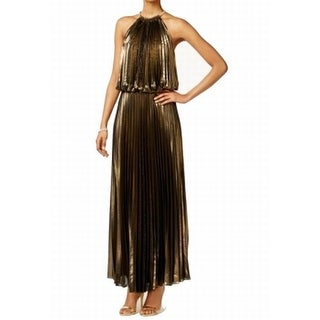 MSK NEW Gold Black Pleated Halter Women's Size 6 Maxi Blouson Dress