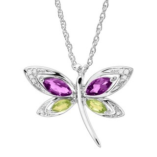 1 ct Natural Amethyst & Peridot Dragonfly Pendant with Diamonds in Sterling Silver - Purple