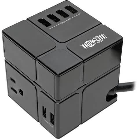 Tripp lite tlp366cubeusbb power cube - 3 ac/6 usb - 6.6a total. 540j/6 ft. cord in black. removable usb ch