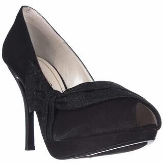 Caparros Odessa Peep Toe Platform Dress Pumps - Black Shimmer