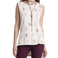 Miss Me NEW Beige Cactus Embroidered Print Large L Tank Cami Hi-Low Top