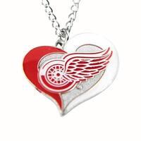 NHL Detroit Red Wings Swirl Heart Necklace