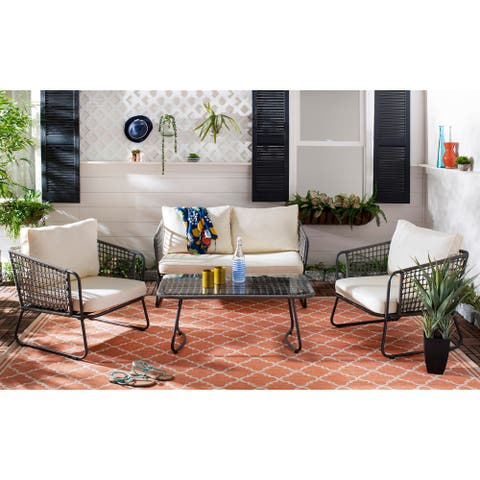 Safavieh Outdoor Living Benjin 4 Piece Living Set - Brown / White