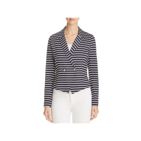 Three Dots Womens Newport Blazer Striped Long Sleeves