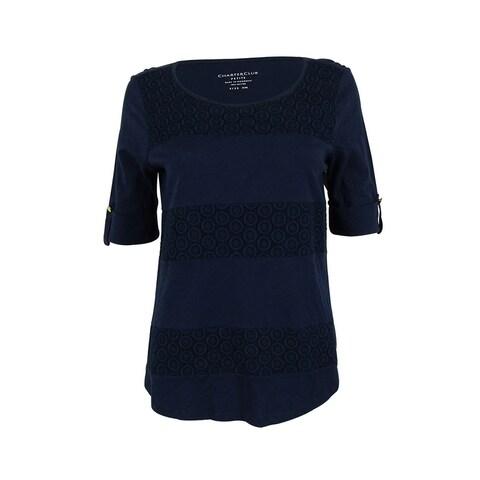 Charter Club Women's Elbow Sleeve Crochet Panel Top - intrepid blue - pm